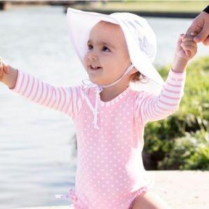 RuffleButts RuggedButts White Sun Protective Hat